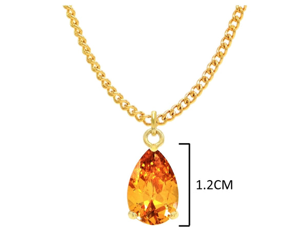 Yellow gold citrine pear gem necklace and earrings MEASUREMENT