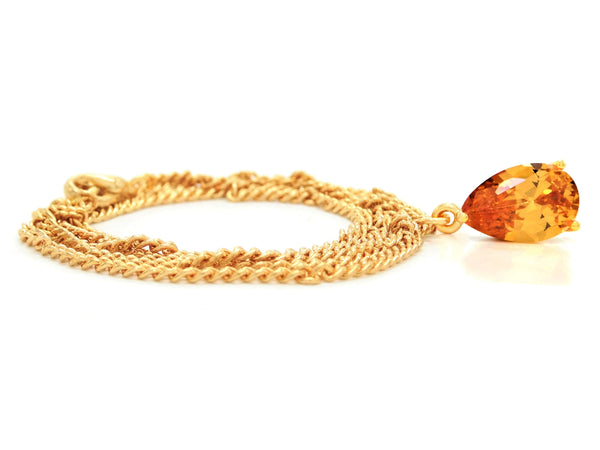Citrine raindrop gold necklace FRONT