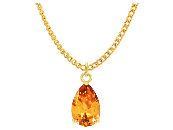 Citrine raindrop gold necklace MAIN
