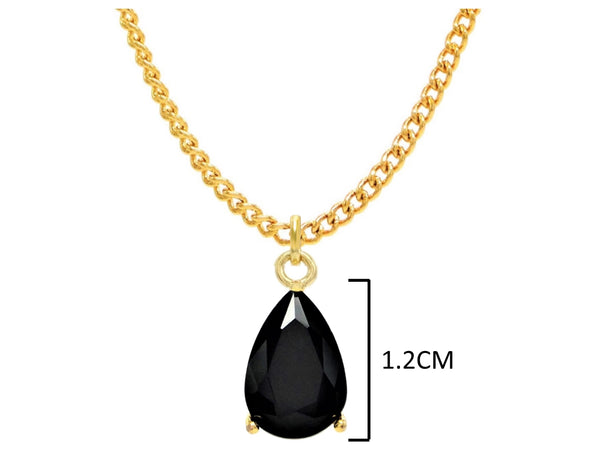 Black moonstone raindrop yellow gold necklace MEASUREMENT