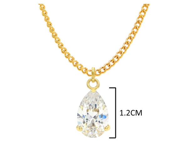 Clear raindrop gem gold necklace MEASUREMENT