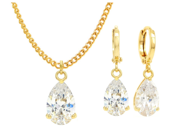 Yellow gold white pear gem necklace and earrings MAIN