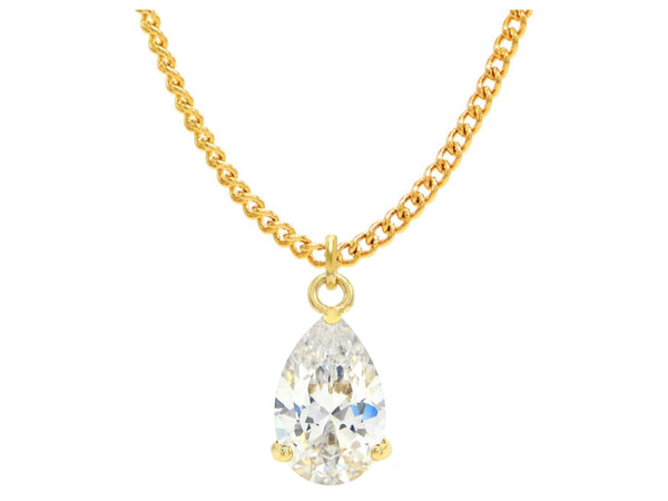 Clear raindrop gem gold necklace MAIN
