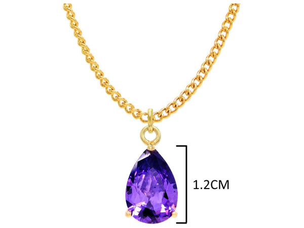 Yellow gold purple pear gem necklace and earrings MEASUREMENT