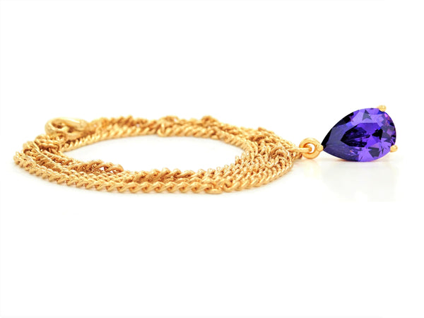Yellow gold purple pear gem necklace and earrings FRONT