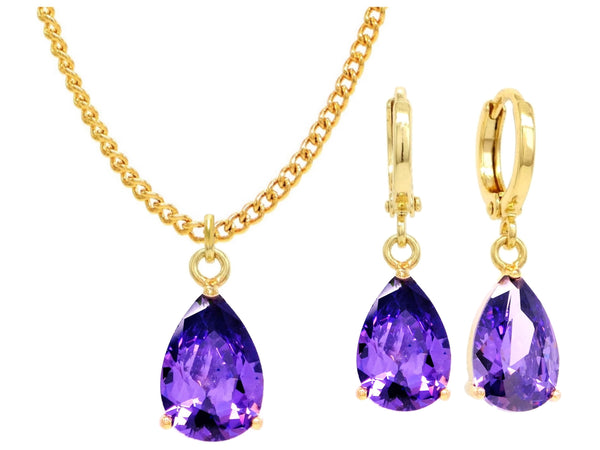 Yellow gold purple pear gem necklace and earrings MAIN
