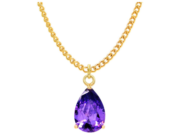 Purple raindrop gold necklace MAIN