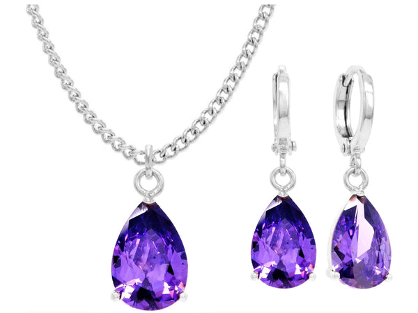 White gold purple pear gem necklace and earrings MAIN