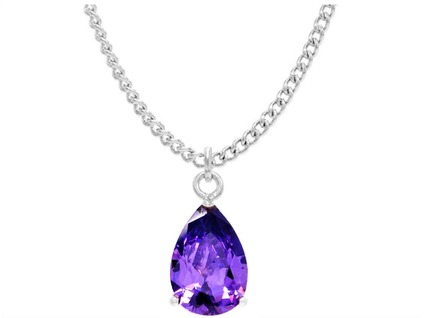Purple raindrop white gold necklace MAIN