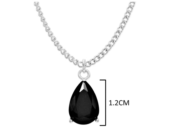 Black moonstone raindrop white gold necklace MEASUREMENT