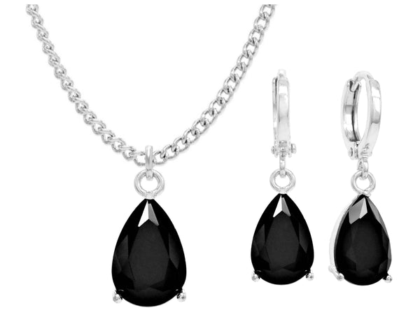 White gold black pear moonstone necklace and earrings MAIN