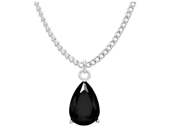 Black moonstone raindrop white gold necklace MAIN