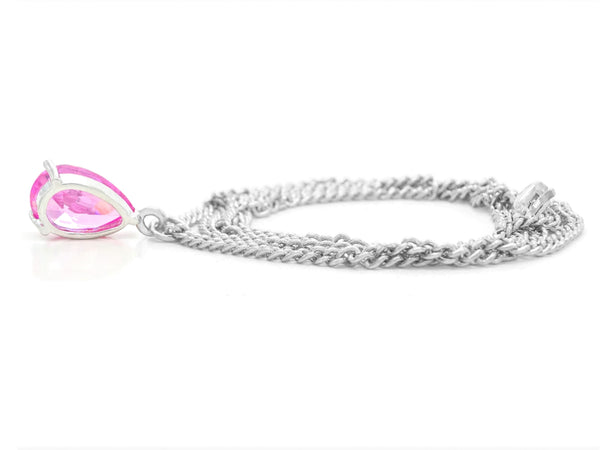 Pink raindrop white gold necklace BACK
