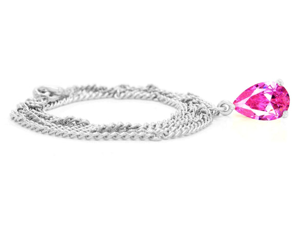 Pink raindrop white gold necklace FRONT