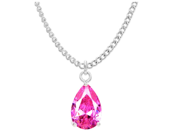 Pink raindrop white gold necklace MAIN