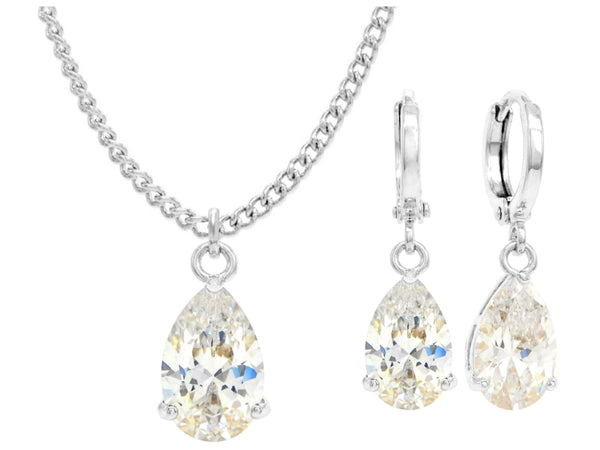 White gold white pear gem necklace and earrings MAIN