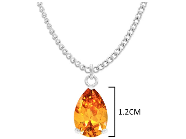 White gold citrine pear gem necklace and earrings MEASUREMENT