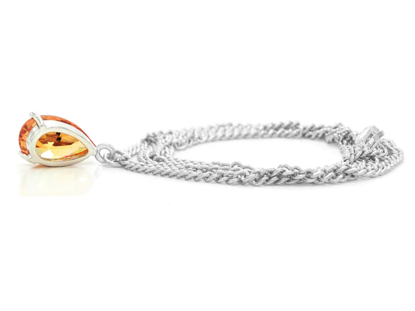 Citrine raindrop white gold necklace BACK
