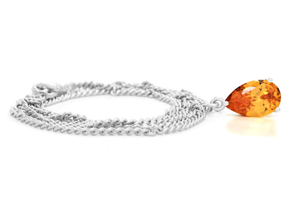 Citrine raindrop white gold necklace FRONT