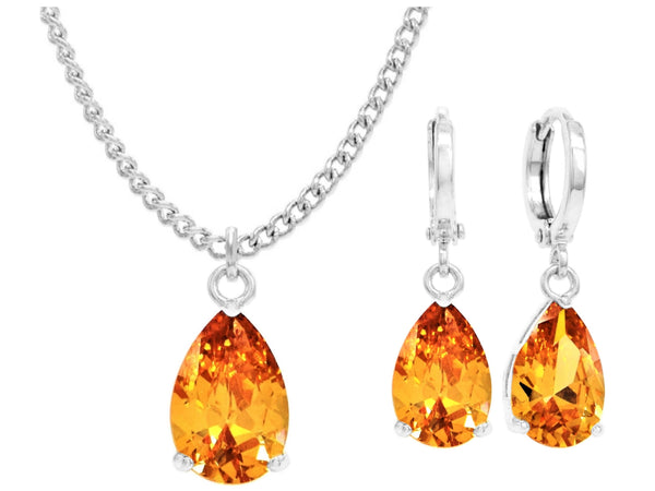 White gold citrine pear gem necklace and earrings MAIN