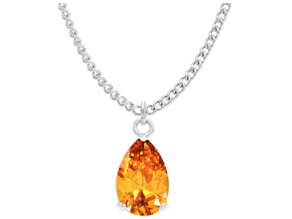 Citrine raindrop white gold necklace MAIN