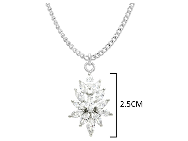 Sterling silver chandelier marquise necklace MEASUREMENT