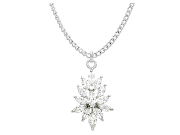 Sterling silver chandelier marquise necklace MAIN
