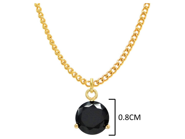 Yellow gold black round gem necklace and earrings MEASUREMENT