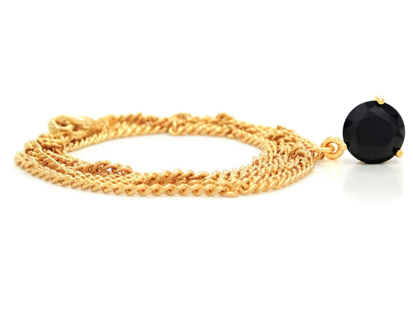 Black gem gold necklace FRONT