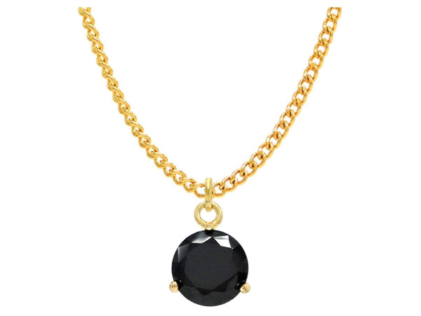 Black gem gold necklace MAIN