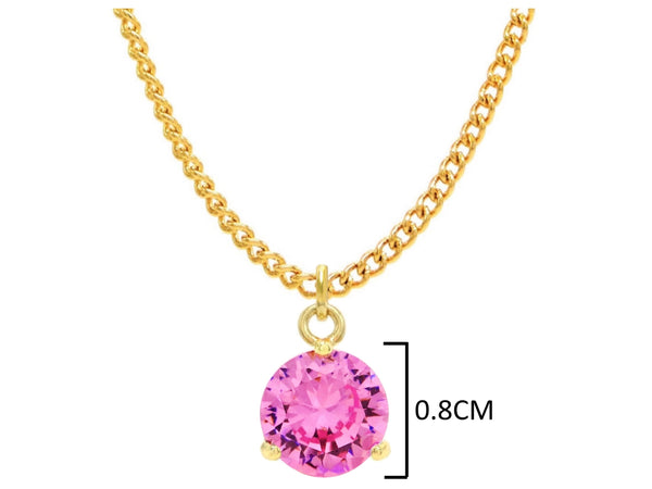 Yellow gold pink round gem necklace and earrings MEASUREMENT