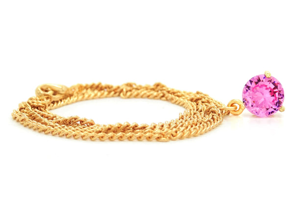 Yellow gold pink round gem necklace and earrings FRONT