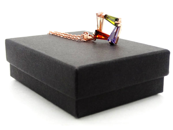 Rose gold tapered baguette gems necklace GIFT BOX