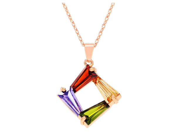 Rose gold tapered baguette gems necklace MAIN