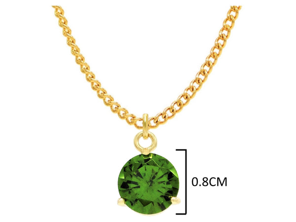Yellow gold green round gem necklace and earrings MEASUREMENT
