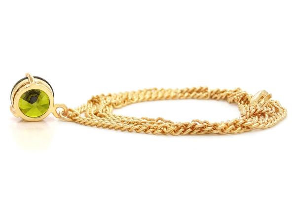 Green gem gold necklace BACK