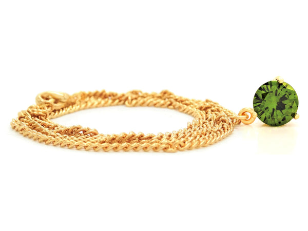 Green gem gold necklace FRONT