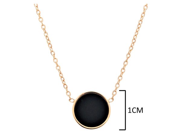 Rose gold round black moonstone jewellery set NECKLACE MEASUREMENT