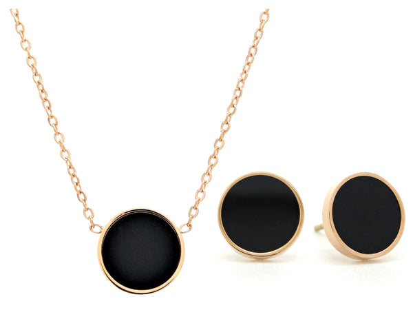 Rose gold round black moonstone jewellery set MAIN