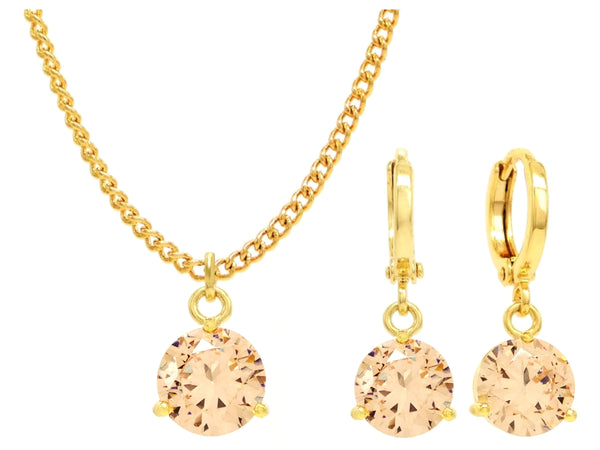 Yellow gold champagne round gem necklace and earrings MAIN