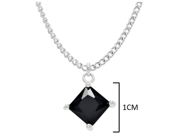 Black moonstone princess white gold necklace MEASUREMENT