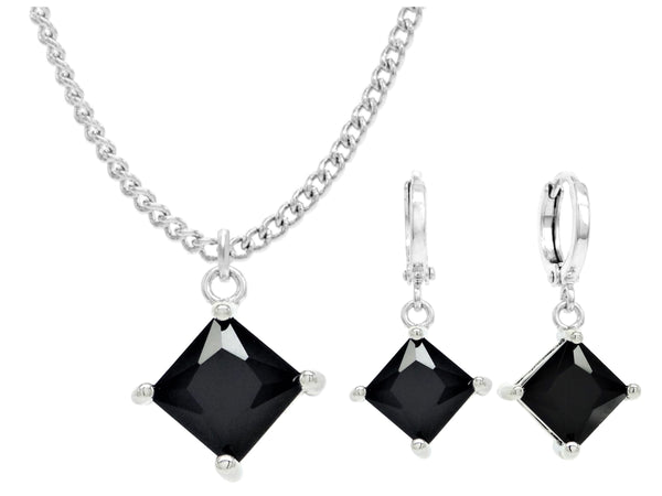 White gold black princess necklace and earrings MAIN