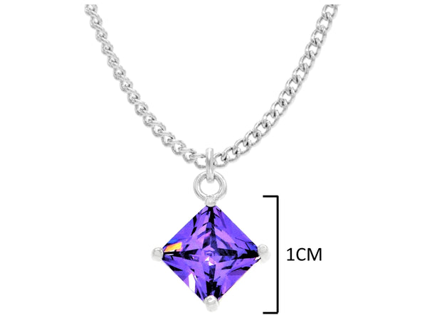 Purple Gem Princess White Gold Necklace