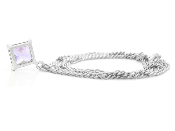 Purple gem princess white gold necklace BACK