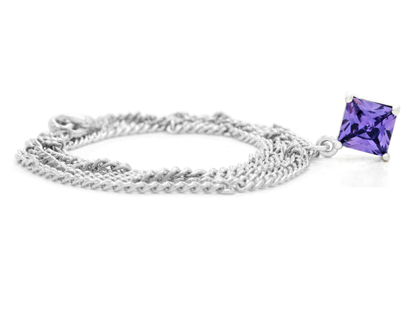 Purple gem princess white gold necklace FRONT