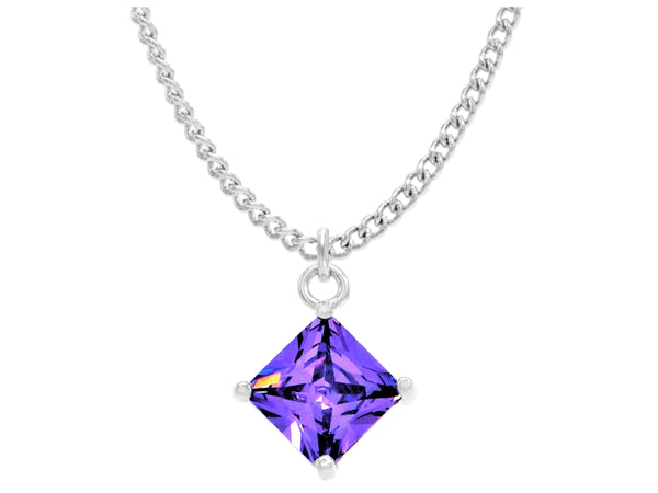 Purple gem princess white gold necklace MAIN