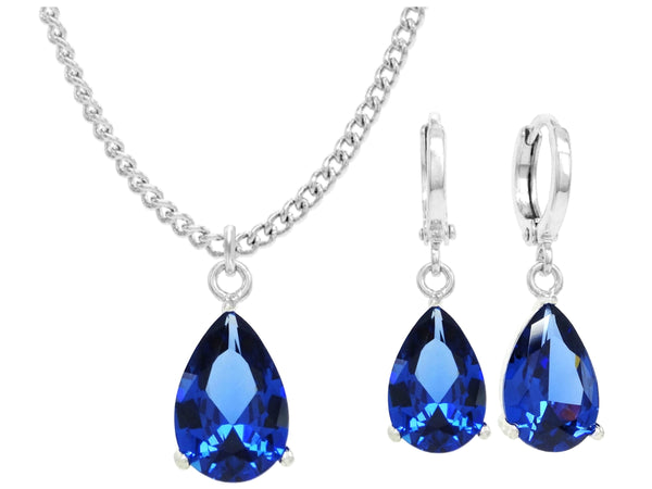 White gold blue pear gem necklace and earrings MAIN