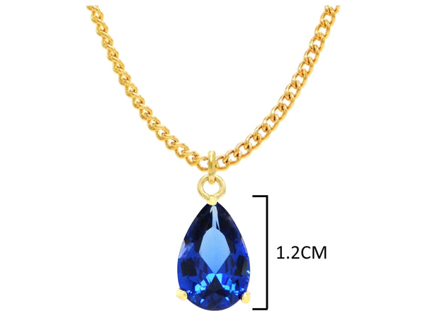 Yellow gold blue pear gem necklace and earrings MEASUREMENT