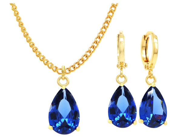 Yellow gold blue pear gem necklace and earrings MAIN