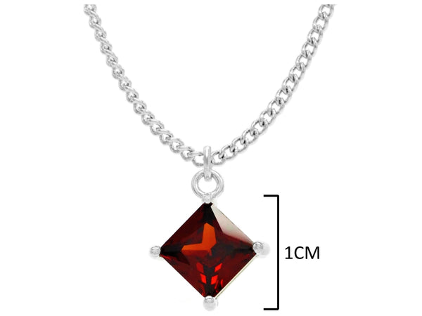 Red gem princess white gold necklace MEASUREMENT